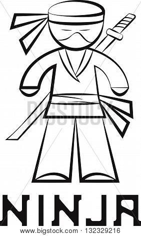 Cartoon Ninja Young Man Vector Design Illustration