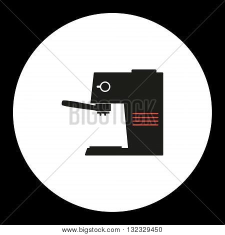 Coffee Maker Simple Isolated Black And Red Icon Eps10