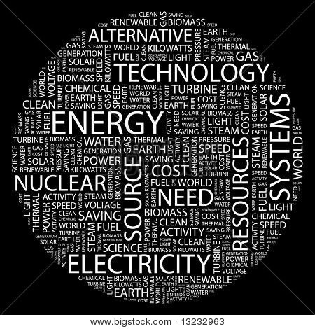 ENERGY. Illustration with different association terms in black background.