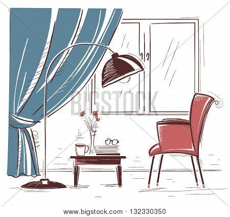 Interior Hand Draw Illustration Of Living Room With Armchair And Table