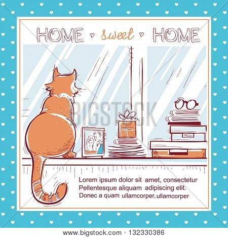 Home Sweet Home Card.windowsill With Home Love Objects And Red Cat.