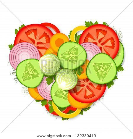 Pile of sliced fresh vegetables and greens stacked in heart form