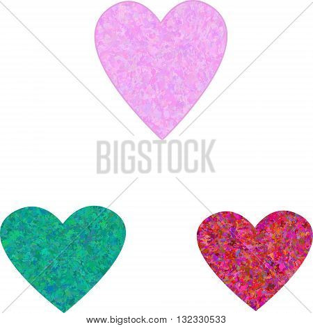 A set of three vector grungy hearts without background
