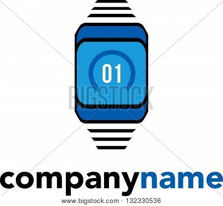 Vector logo icon. Smart watch outline flat illustration. Design concept for modern technology and innovation, business solutions, electronic device.