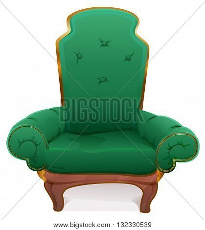 Green armchair. Cushioned furniture. Isolated on white vector illustration