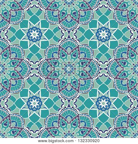 Oriental seamless pattern of mandalas. Vector turquoise background. Template for textile carpet wallpaper stained glass shawls.