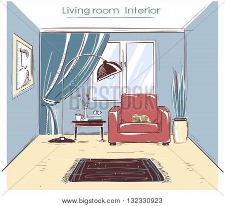 Sketchy Illustration Of Living Room Interior.vector Color Hand Drawing Image
