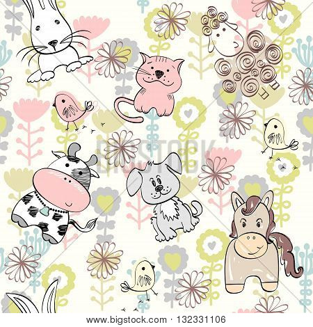 babies hand draw seamless pattern with farm animals