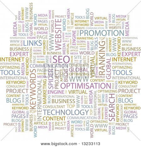 SEO. Word collage on white background. Illustration with different association terms.