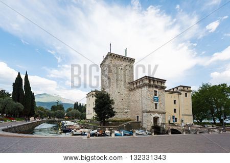 Riva del Garda Italy - May 03 2016: View of the Castle of Scaligero famous landmark of the Lake Garda