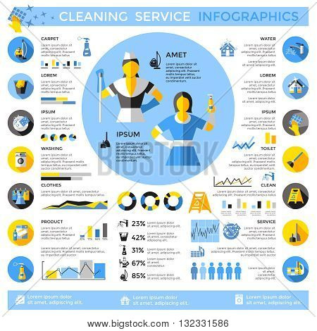 Cleaning service infographics with staff in center washing machine and tools diagrams graphs statistics vector illustration