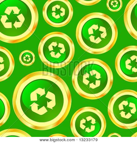 Seamless recycle background. Vector pattern.