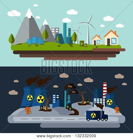 Two environmental pollution banner set with description the use of windmills and the impact on the nature of polluting enterprises vector illustration