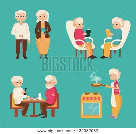 Set with older people. Playing chess, reading, cooking. Elderly couples. Vector illustration in flat style.