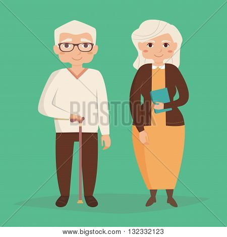 Old couple. Vector illustration in flat style. Image for booklets, brochures, flyers, websites. Cartoon character. Man and woman