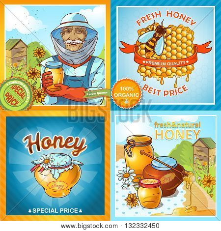 Icon set of honey compositions with description how make honey and titles for stickers special price fresh honey best price for example vector illustration