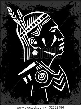 North American Indian chief blak and white - vector illustration