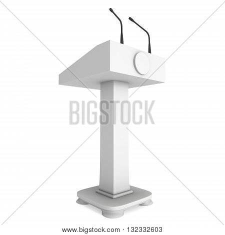 3d Speaker Podium. White Tribune Rostrum Stand with Microphones. 3d render isolated on white background. Debate press conference concept