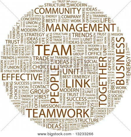 TEAM. Word collage on white background. Vector illustration.