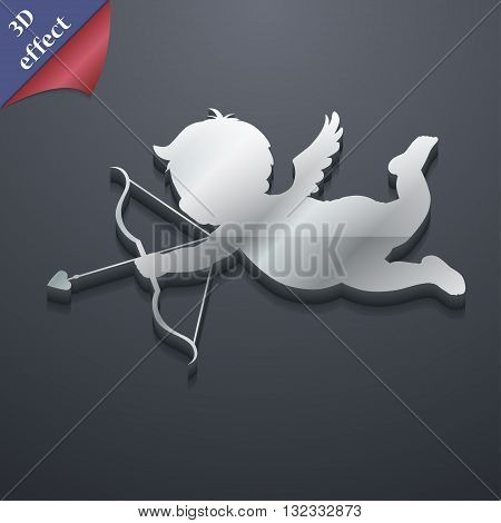Cupid Icon Symbol. 3D Style. Trendy, Modern Design With Space For Your Text Vector