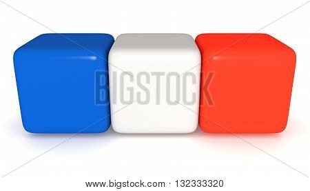 French flag Tricolor cubes 3d illustration on a white background
