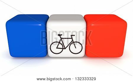 French flag Tricolor cubes with bicycle 3d illustration
