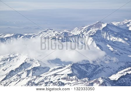 Snowy Mountains At Andes Cordillera