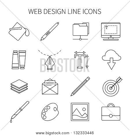 Web design line icon set tools needed for web designer for creation and completing of the work vector illustration