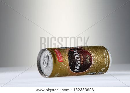 Kuala Lumpur Malaysia, 28th may 2016, Nescafe can drink. Nescafe is a brand of instant coffee made by Nestle, a Swiss multinational food and beverage company.