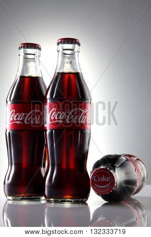 Kuala Lumpur, Malaysia 23th May 2016, Coca-Cola Classic in a glass bottle Isolated on white Background. Coca Cola, Coke is the most popular carbonated soft drink beverages sold around the world