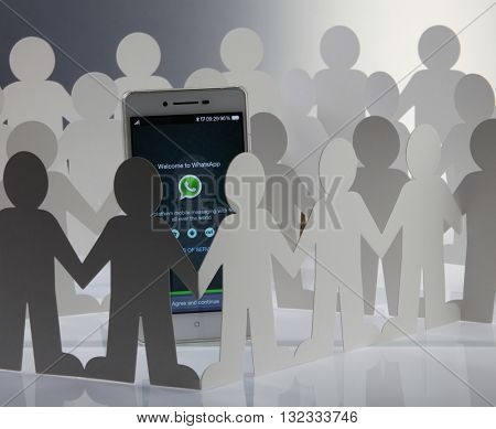 Kuala Lumpur Malaysia, 28th may 2016, of people man surrounding  at social network whatsapp sign in page on smartphone