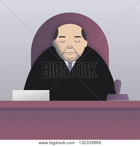 Vector illustration of a sleepy bureaucrat sitting at the desk with a pile of papers and a big stamp. Simple flat style, square format. Cold palette.