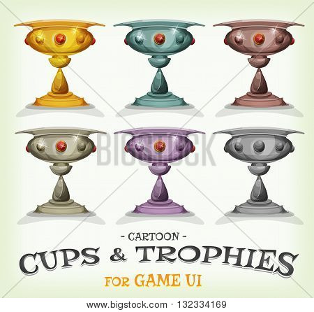 Illustration of a set of funny cartoon gold award winner trophies and prizes with different levels and categories for game ui best score or success and wealth icons