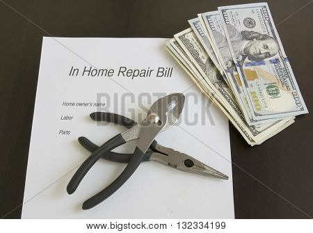 High cost of home repairs showing large sums of money