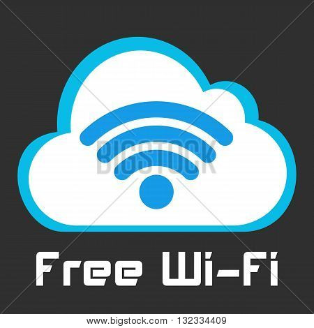 Free wifi vector sign. Wireless Network icon. Wifi zone. White and blue flat button with wi-fi symbol. Modern UI element. Vector illustration.