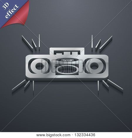 Radio Cassette Player Icon Symbol. 3D Style. Trendy, Modern Design With Space For Your Text Vector