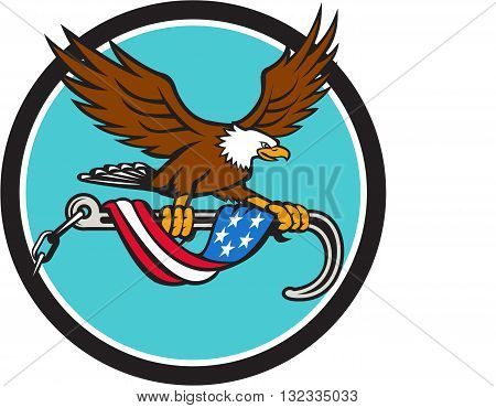 Illustration of an american bald eagle clutching with its talon a towing j hook with chains draped with usa american flag set inside circle done in retro style style.