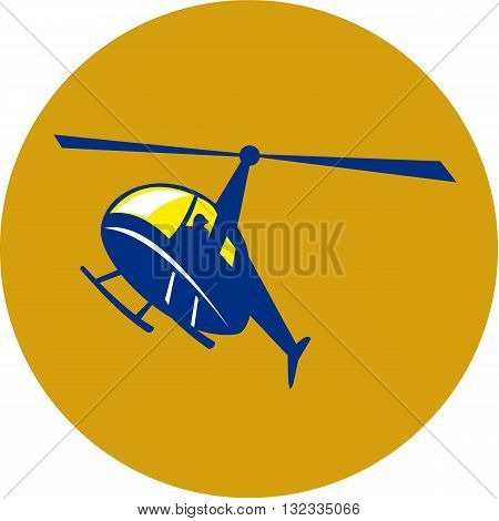 Illustration of a helicopter chopper in flight flying set inside circle on isolated background done in retro style.