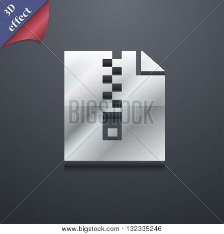 Computer Zip Folder, Archive Icon Symbol. 3D Style. Trendy, Modern Design With Space For Your Text V
