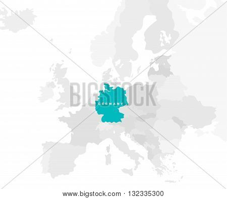 Germany locate modern detailed map. All european countries without names. Vector template of beautiful flat grayscale map design with Germany name and location