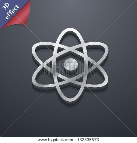 Atom, Physics Icon Symbol. 3D Style. Trendy, Modern Design With Space For Your Text Vector