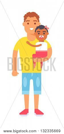Father and son vector illustration.
