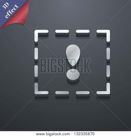 The Exclamation Point In A Square Icon Symbol. 3D Style. Trendy, Modern Design With Space For Your T