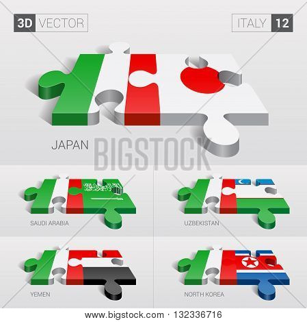 Italy and Japan, Saudi Arabia, Uzbekistan, Yemen, North Korea Flag. 3d vector puzzle. Set 12.