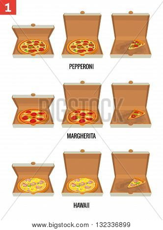 Whole pizza and slices of pizza in open and semi-open white box. Pepperoni Hawaiian Margherita. Vector isolated flat illustration for poster menus brochure web and icon