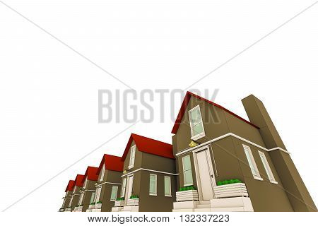 3d illustration of simple sketched houses isolated on white background
