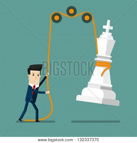 Businessman reaching success Strategy. Business concept cartoon illustration.