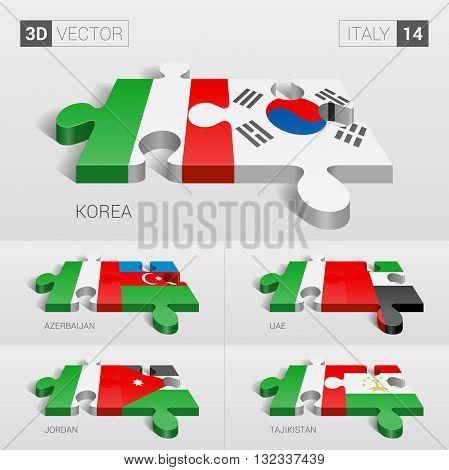 Italy and Korea, Azerbaijan, UAE, Jordan, Tajikistan Flag. 3d vector puzzle. Set 14.