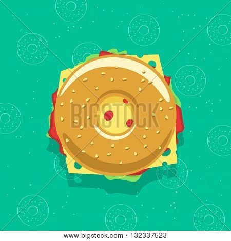 Bagel sandwich vector illustration isolated on bagel background, concept of breakfast fresh fast food, flat cartoon sandwich