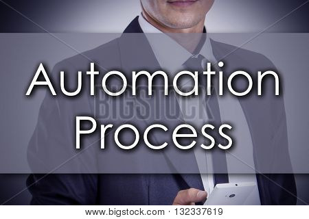 Automation Process - Young Businessman With Text - Business Concept